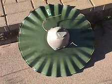 Old PORCELAIN 20 in. GREEN/White Radial WAVE Barn FIXTURE Gas Station SHADE (3)