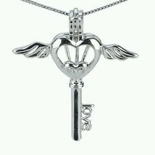 Angel Heart Wing Key Pearl Pendant 925 Sterling Silver. Cage For Pearl Necklace