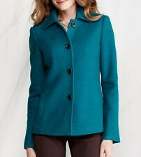 Land's End 431659 Women's Boiled Wool Jacket Size 8 Capri Seas Blue NWT