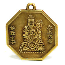 "BUDDHA FENG SHUI CHARM 1"" Chinese Brass Pendant Bagua Protection Good Luck NEW"