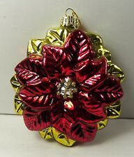Red & Gold Poinsettia Flower Hand Blown Glass Christmas Ornament NOS 4""