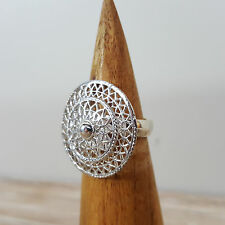 925 Sterling Silver Mandala Gong Adjustable Patterned Ring Hinduism Spiritual