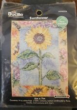 """Plaid Bucilla Counted Cross Stitch Sunflower Kit with Floss 5"""" by 7"""""""
