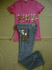 NWT New Victoria's Secret Pink Bling T Shirt Top Velour Pants Set Sequins M Rare
