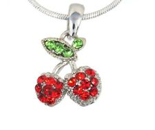 New Cherry Austrian Crystal Pendant Silver .925 Chain Necklace Red Cherries