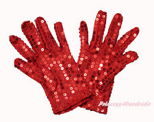 Sparkle Hot Red Sequins Wrist Length Gloves for Party Dance Kids Costume