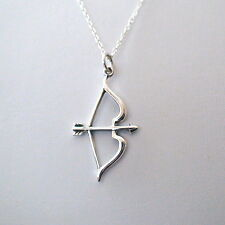 Bow and Arrow Necklace - 925 Sterling Silver - Bow Archery Charm Jewelry *NEW*