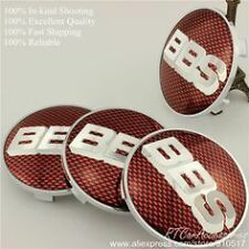 4PCS  Logo red silver  Wheel Center Hub Caps Badge For BBS Face 68mm Clip 65mm
