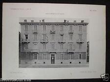 1906 CASA CORNAGLIA A TORINO STAMPA D'EPOCA ARCHITETTURA EUGENIO MOLLINO D273