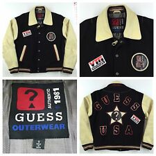 RARE Vintage GUESS USA Jeans Letterman Jacket Mens S Small Leather/Wool 90's