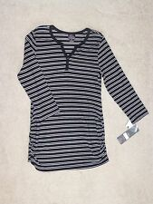 OH,BABY MOTHERHOOD MATERNITY NWT 3/4-SL STRIPE WAFFLE HENLEY TOP--L--SHIPS FREE