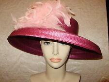 Kentucky Derby Hat BOATERS HAT FLIPPED UP OR DOWN BRIM Plum and Pink Feathers