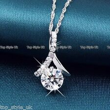 Silver Crystal Diamond Pendant Necklace Chain Gifts for Her Women Wife Mum GF C3