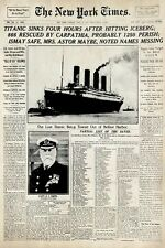 TITANIC ~ NEW YORK TIMES HEADLINE 24x36 POSTER History April 16 1912 Cover Movie