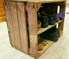 HANDMADE WOODEN APPLE CRATE WITH LONG INTERNAL SHELF STORAGE DISPLAY SHOE RACK
