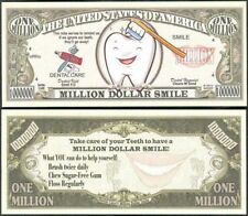 Dental Care Smile Fun Million Dollars $ USA Play Money Bill Novelty Not Real