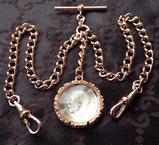 1915 George V Coin Fob Rolled Rose Gold Double Albert Pocket Watch Chain