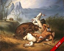 NATIVE AMERICAN INDIAN FIGHTING BEAR OIL PAINTING ART REAL CANVAS GICLEE PRINT