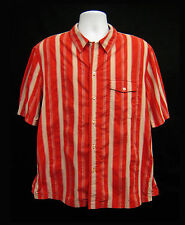 EMPORIO ARMANI Mens Size XL Red White Stripe Shirt Short Sleeve Button Front