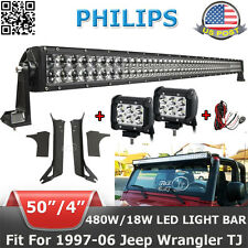 "50"" 480W+4"" 18W LED Light Bar+Mounting Brackets Fit For Jeep Wrangler TJ 1997~06"