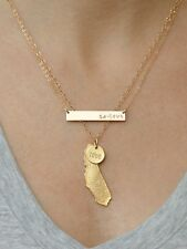 Gold California Love State Necklace Set