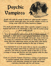 Book of Shadows Spell Page, ABOUT PSYCHIC VAMPIRES, Witchcraft, Wicca, BOS