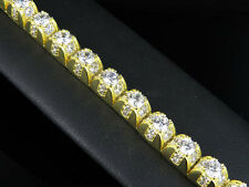 Men's Sterling Silver Yellow Gold Finish 1-Row 3D Lab Diamond Bracelet