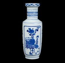 China 20. Jh. -A Chinese Blue & White Rouleau Vase Kangxi Style - Chinois Cinese