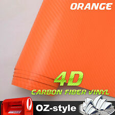 151 x 30CM Carbon Fiber Car Laptop Phone Cover Vinyl Film Wrap 4D Orange Sticker