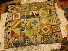 Vintage Hand Embroidered Needlepoint Tapestry Cushion (Complete) Velvet Reverse