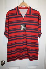 CHILIWEAR Polo Rugby Golf Bowling Shirt XLarge XL Button-Up NWT Red Blue Striped