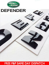 DEFENDER GLOSS BLACK 3D BONNET LETTERING LAND ROVER 90 110 LETTERS BADGE Emblem