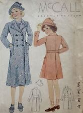 Vintage McCalls Sewing Pattern #8415 -  GIRLS' Coat and Hat Sz 10
