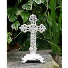 Shabby Rustic Cross Stand WHITE Metal Crucifix Sculpture Ornament outdoor indoor