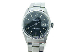 Mens Rolex Stainless Steel Datejust Watch Oyster w/Black Dial 1603
