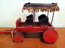 Antique Vintage Toy Hand Made Wooden Horse Drawn Surrey with Fringe Cart Wagon