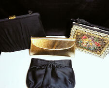 Vintage 1950s Purse Lot Black Gold and Beaded