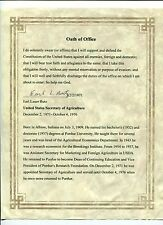 Earl Butz US Secretary of Agriculture Rare Signed Autograph Oath Of Office & Bio