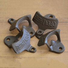 Open Here Cast Iron Cool Wall Mount Bottle Opener Western Rustic Brown xc