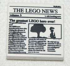 Lego New White Tile 2 x 2 with Newspaper 'THE LEGO NEWS' Pattern