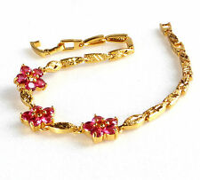 Women Ruby Red Flower Bracelet 24K Yellow Gold Plated CZ Cubic Crystal 19cm 7.5""