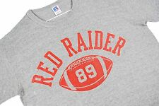 L vtg 80s RAYON TRI BLEND Red Raider Football T Shirt 1989 USA Hipster Gray