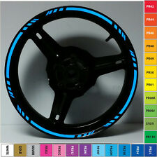 BLUE REFLECTIVE MOTORCYCLE RIM STRIPES WHEEL DECALS TAPE STICKERS 17 INCH RIMS