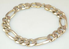 """MENS HEAVY STERLING SILVER 9"""" CHUNKY FIGARO CHAIN BRACELET FROM ITALY 39.9 GRAMS"""