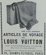 PUBLICITE LOUIS VUITTON LES ARTICLES DE VOYAGE BAGAGERIE LUXE DE 1924 FRENCH AD