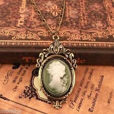 Vintage Palace Charming Lady Cameo Pendant Necklace Sweater Chain Statue Retro
