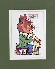MOUNTED LOUIS WAIN CAT PRINT  -  MASCOTS  -  THE  MEAL - TIME  MASCOT