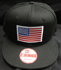 New Era NE400 Black Snapback Hat/Cap With American Flag Patch White Border NEW