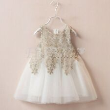 White Kids Baby Girls Toddler Princess Wedding Pageant Party Sequin Flower Dress