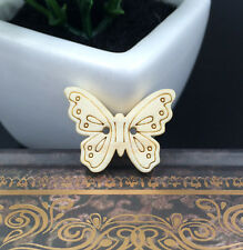 50pcs Butterfly 2 Holes Wooden Buttons Fit Sewing paste decoration 22mm